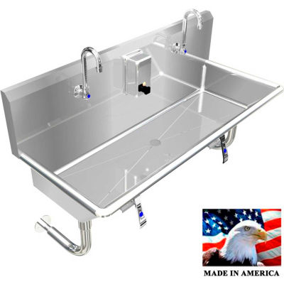 """Stainless Steel Sink, 2 Stations w/Knee Operated Faucets 42"""" L X 20"""" W X 8"""" D"""