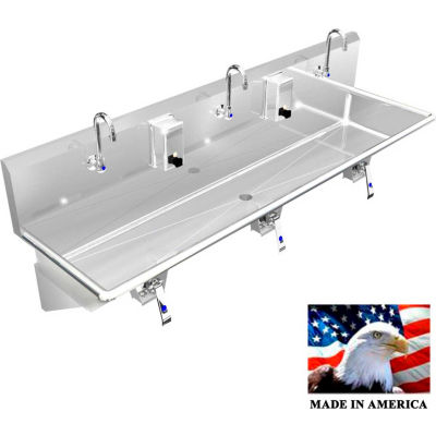 """BSM Inc. Stainless Steel Sink, 3 User w/Knee Valve Operated Faucets, Wall Brackets 72""""L X 20""""W X 8""""D"""