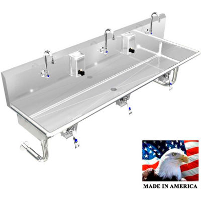 """BSM Inc. Stainless Steel Sink, 3 Station w/Knee Valve Operated, Round Legs 72""""L X 20""""W X 8""""D"""