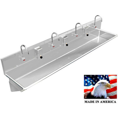 "BSM Inc. Stainless Steel Sink, 4 User w/Electronic Faucets, Wall Brackets 84"" L X 20"" W X 8"" D"