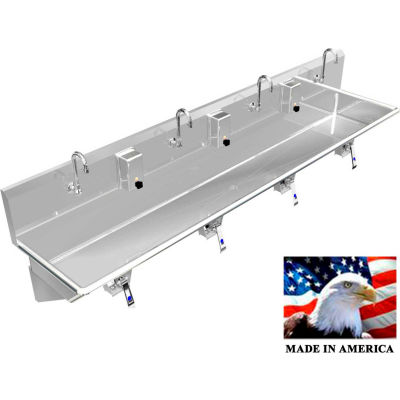 """BSM Inc. Stainless Steel Sink, 4 User w/Knee Valve Operated Valves Wall Mounted 80"""" L X 20"""" W X 8"""" D"""
