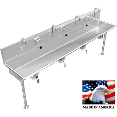 """BSM Inc. Stainless Steel Sink, 4 User w/Knee Valve Operated Valves Straight Legs 80""""L X 20""""W X 8""""D"""
