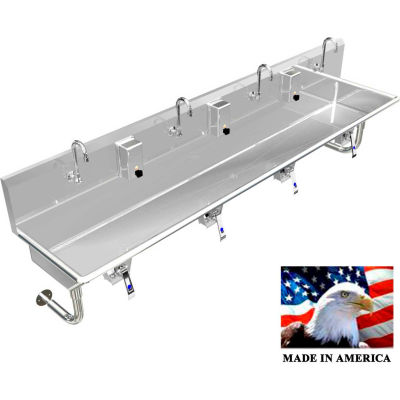 """Stainless Steel Sink, 4 User w/Knee Valve Operated Valves Round Tube Mounted 84"""" L X 20"""" W X 8"""" D"""