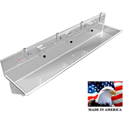 """BSM Inc. Stainless Steel Sink, 4 User w/Manual Faucets, Wall Mounted 84"""" L X 20"""" W 8"""" D"""