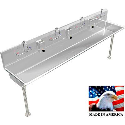 "BSM Inc. Stainless Steel Sink, 4 User w/Manual Faucets, Straight Legs 84"" L X 20"" W X 8"" D"