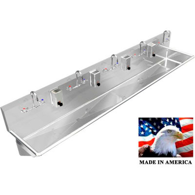 "BSM Inc. Stainless Steel Sink, 5 Stations w/Manual Faucets 120"" L X 20"" W X 8"" D"