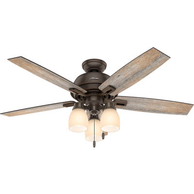 """Hunter Fan Co. 52"""" Donegan Ceiling Fan With Three Lights & Onyx Bengal Finish"""