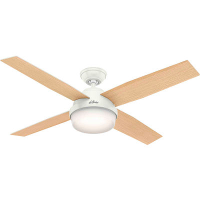 """Hunter Fan 52"""" Dempsey with Light Ceiling Fan with Light and Handheld Remote 59217 - Fresh White"""