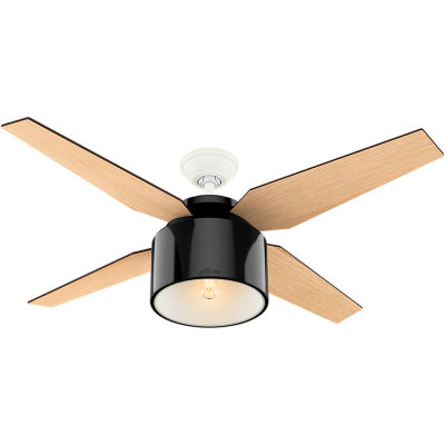 """Hunter Fan 52"""" Cranbrook Ceiling Fan with Light and Handheld Remote 59257 - Gloss Black"""