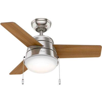 """Hunter Fan 36"""" Aker Ceiling Fan with Light 59303 - Brushed Nickel"""