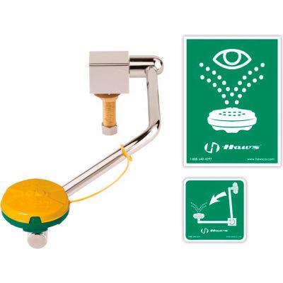 Haws®, 7610, Barrier-Free Single Action Swing-Down Eye/Face Wash Mounted On Rear Of Sink