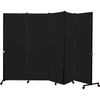 Healthflex Portable Medical Privacy Screen, 5-Panel, Vinyl Coal