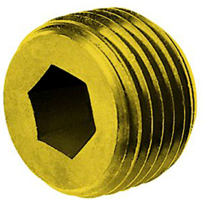 "1/4"" NPTF Socket Head Pipe Plug - 7/8"" Taper - Flush Seal - Brass - Pkg of 100 - Holo-Krome 11104"