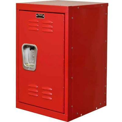 "Hallowell Single Tier 1 Door Kid Mini Locker, 15""Wx15""Dx24""H, Relay Red, Unassembled"