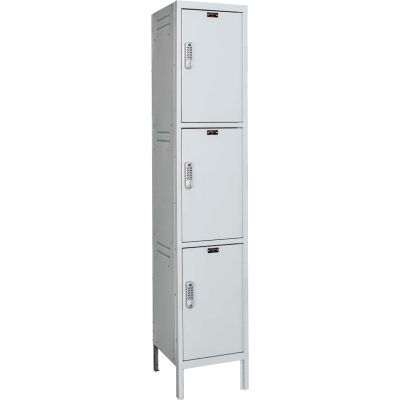 Hallowell UELBP1588-3PL Laptop/Backpack Locker, 15x18x24, 3 Tier, 1 Wide, Unassembled - Light Gray