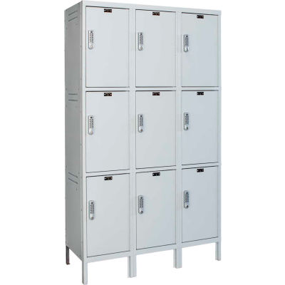 Hallowell UELBP3588-3A-PL Laptop/Backpack Locker, 45x18x24, 3 Tier, 3 Wide, Assembled - Light Gray