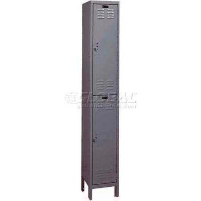 """Hallowell ValueMax Double Tier 2 Door Locker, 12""""Wx12""""Dx36""""H, Dark Gray, Assembled"""