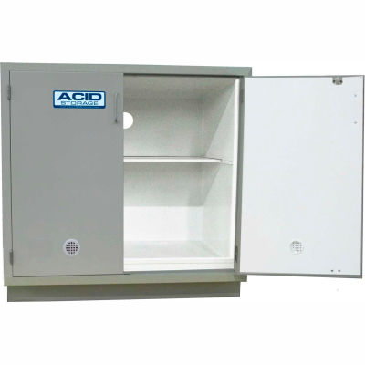"HEMCO® Acid Base Cabinet, 48""W x 22""D x 35-1/4""H, 2 Doors, White"