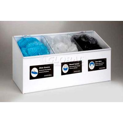 Horizon Mfg. 3-Compartment White Hair Net/Beard Cover/Shoe Cover/Arm Protector Dispenser