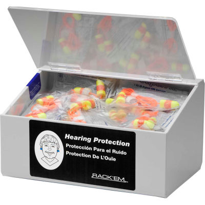 "Horizon Mfg. 60 Pair Ear Plug Dispenser With Lid, Holds 10 Pair Safety Glasses, 5136-W, 6""L"