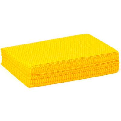 "DustWorks® Yellow 1/4 Fold Treated Dust Cloth, 12"" x 17"", 40/Bag, N-DSHQPY"