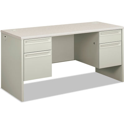"HON® Kneespace Credenza - 60""W x 24""D x 29-1/2""H - Silver Mesh/Light Gray - 38000 Series"