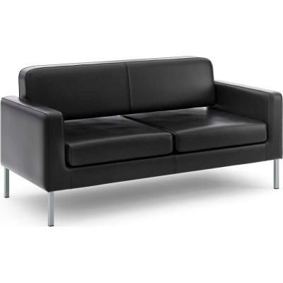 basyx® by HON® Reception Sofa for Two - Leather - Black
