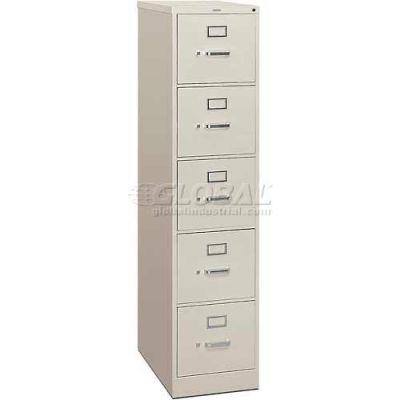 """HON® - 310 Series 5 Drawer Vertical File 26-1/2""""D Letter Light Gray"""