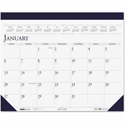 House of Doolittle™ Two-Color Refillable Monthly Desk Pad Calendar, 22 x 18, 2021