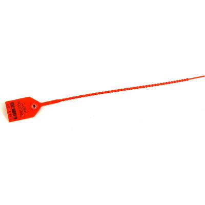 """Global Industrial™ Variable Length, Plastic 12"""" Seal, Orange, 100/Pack"""