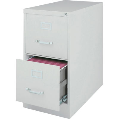 "Hirsh Industries® 26-1/2"" Deep Vertical File Cabinet 2-Drawer Letter Size - Light Gray"