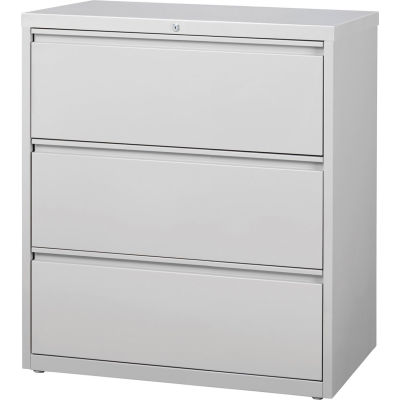 """Hirsh Industries® HL10000 Series® Lateral File 36"""" Wide 3-Drawer - Light Gray"""