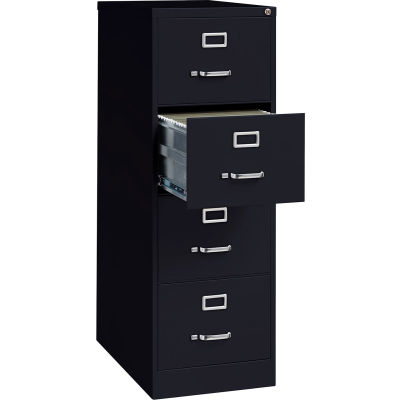 "Hirsh Industries® 26-1/2"" Deep Vertical File Cabinet 4-Drawer Legal Size - Black"