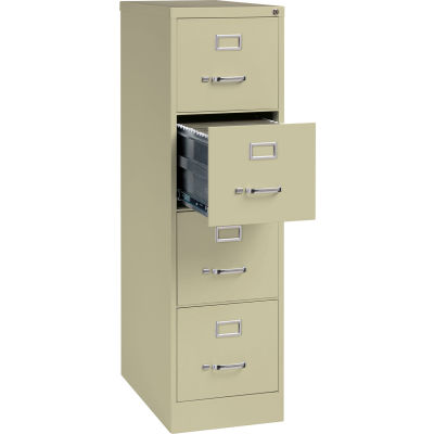"Hirsh Industries® 25"" Deep Vertical File Cabinet 4-Drawer Letter Size - Putty"