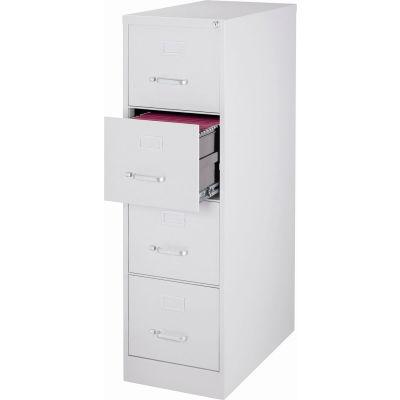 "Hirsh Industries® 25"" Deep Vertical File Cabinet 4-Drawer Letter Size - Light Gray"