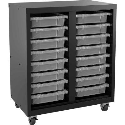 "Hirsh Industries® Mobile Bin Tower Black 22602 with 16 Clear Bins - 30"" x 18"" x 36"""