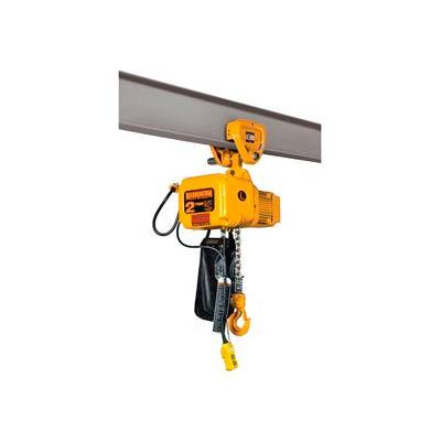 SNER Electric Chain Hoist w/ Push Trolley - 2 Ton, 10' Lift, 7 ft/min, 115V