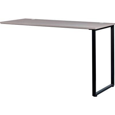 "Interion® Open Plan Standing Height Return Desk - 48""W x 24""D x 40""H - Gray Top w/Black Legs"