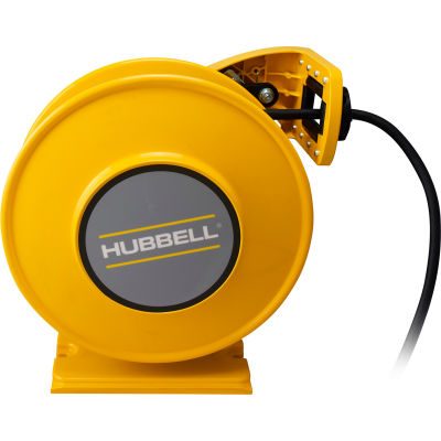 Hubbell ACA12325-DR20 Industrial Duty Cord Reel w/ GFCI Duplex Outlet Box - 12/3c x 25', Aluminum