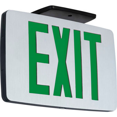 Hubbell Lighting Brushed Single-Face LED Die-Cast Thin Exit Sign W/ Battery, Black W/ Green Letters