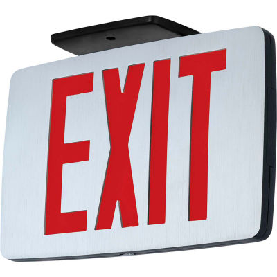 Hubbell CCESR LED Die-Cast Thin Exit, Brushed Face, Black, Single Face, Red Letters, AC Only