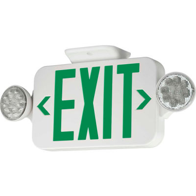 Hubbell CCG LED Combo Exit/Emergency Unit, Green Letters, White, Ni-Cad Battery