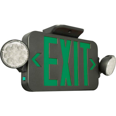 Hubbell CCGB LED Combo Exit/Emergency Unit, Green Letters, Black, Ni-Cad Battery