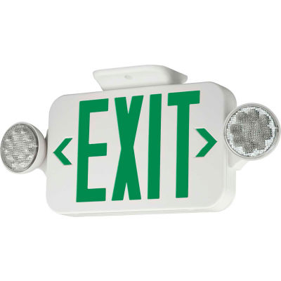 Hubbell CCGRC LED Combo Exit/Emergency Unit w/ Remote Capacity, Green Letters, White, Ni-Cad Battery