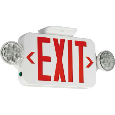 Compass Lighting CCR LED Combo Exit/Emergency Unit, Red Letters, White, Ni-Cad Battery