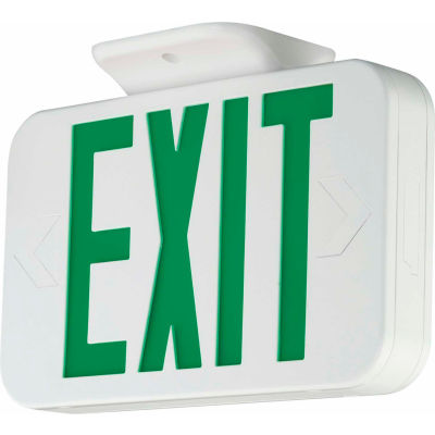Hubbell CEG LED Exit Sign, White, Green Letters w/ Ni-Cad Battery