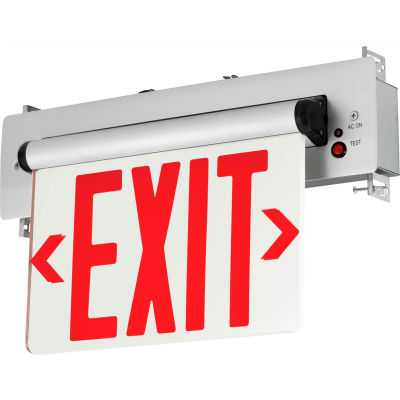 Hubbell CELR1RNE LED Edge-Lit Exit, Single-Face, Red Letters, Recessed Mount, w/ Battery Back-up