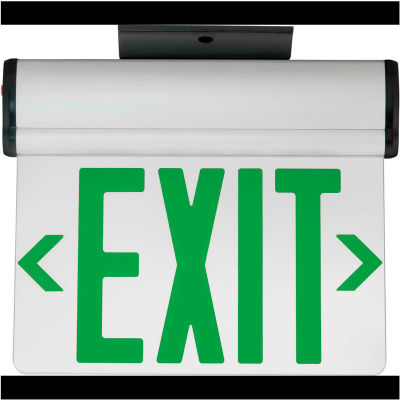 Hubbell CELS2GNE LED Edge-Lit Exit, Double-Face, Green Letters, Surface Mount, w/Battery Back-up
