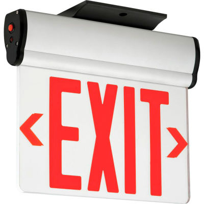 Hubbell CELS2RNE LED Edge-Lit Exit, Double-Face, Red Letters, Surface Mount, w/Battery Back-up