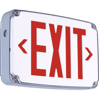 Hubbell CEWDRE LED Wet Location Exit Sign, Double Face, Red w/ Nickel Cadmium Battery